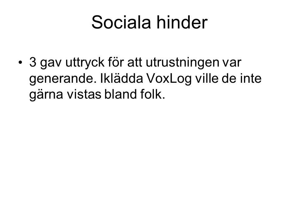 Sociala hinder • 3 gav uttryck för att utrustningen var generande. Iklädda VoxLog ville de inte gärna vistas bland folk.