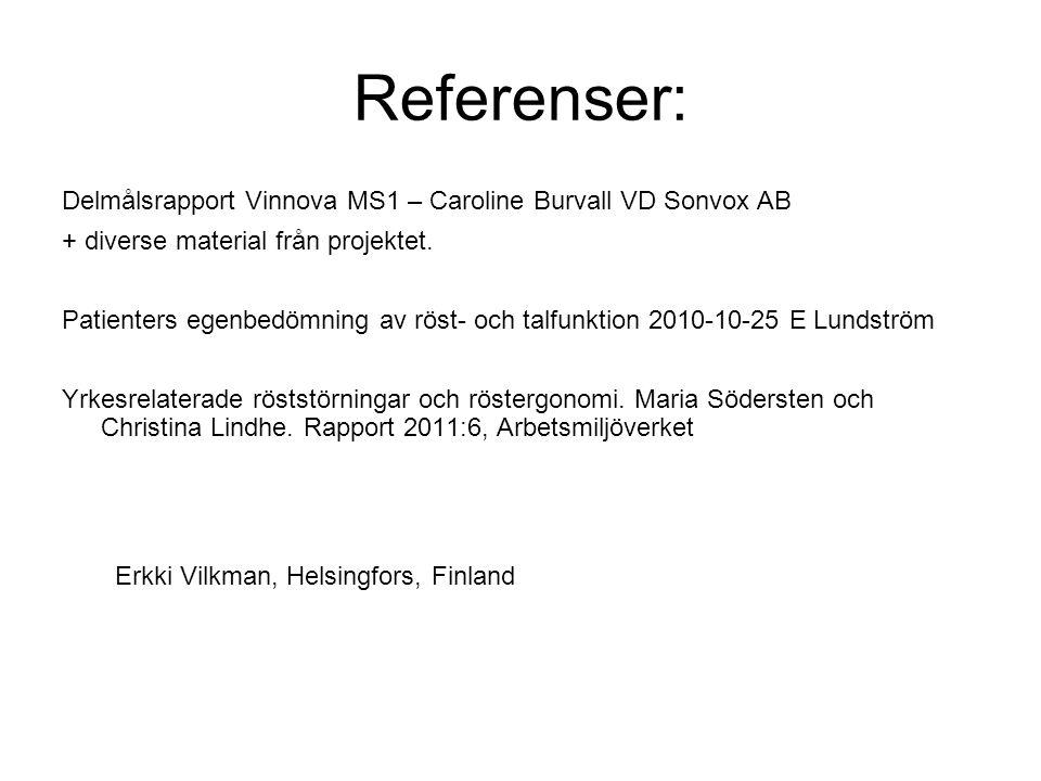 Referenser: Delmålsrapport Vinnova MS1 – Caroline Burvall VD Sonvox AB + diverse material från projektet. Patienters egenbedömning av röst- och talfun