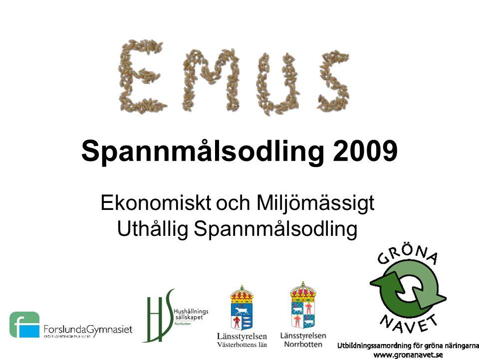 Spannmålsodling 2009 Ekonomiskt och Miljömässigt Uthållig Spannmålsodling
