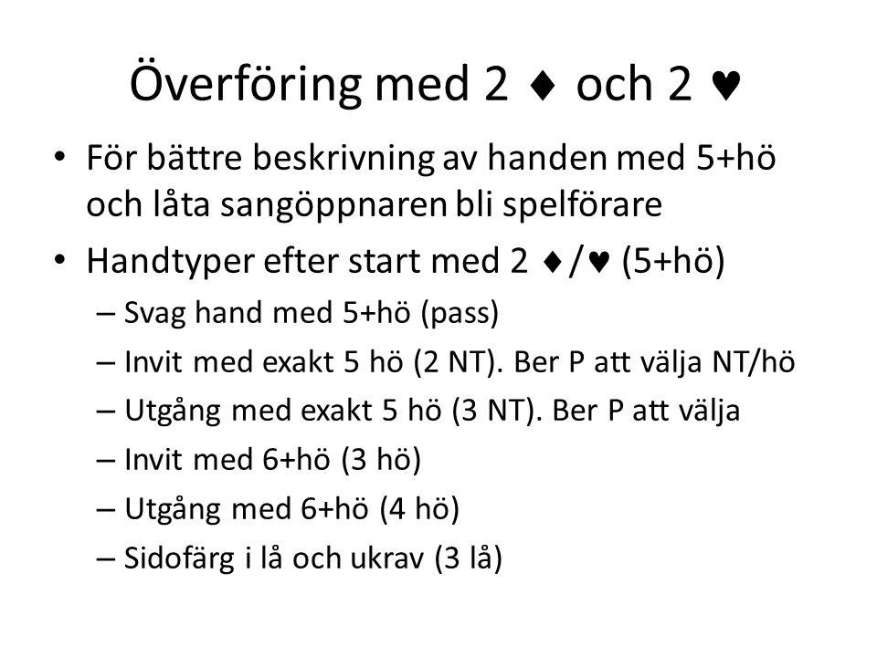 Överföring med 2  och 2  • För bättre beskrivning av handen med 5+hö och låta sangöppnaren bli spelförare • Handtyper efter start med 2  /  (5+hö)
