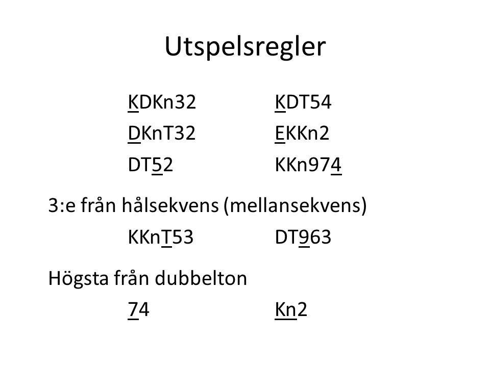 Utspelsregler KDKn32KDT54 DKnT32EKKn2 DT52KKn974 3:e från hålsekvens (mellansekvens) KKnT53DT963 Högsta från dubbelton 74Kn2