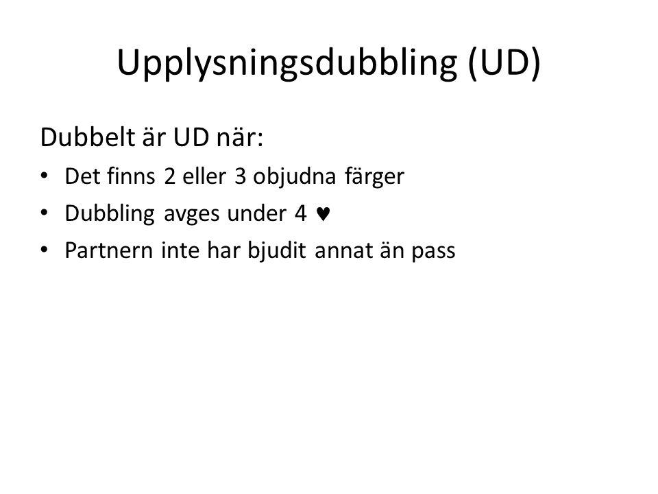 Upplysningsdubbling (UD) Dubbelt är UD när: • Det finns 2 eller 3 objudna färger • Dubbling avges under 4  • Partnern inte har bjudit annat än pass