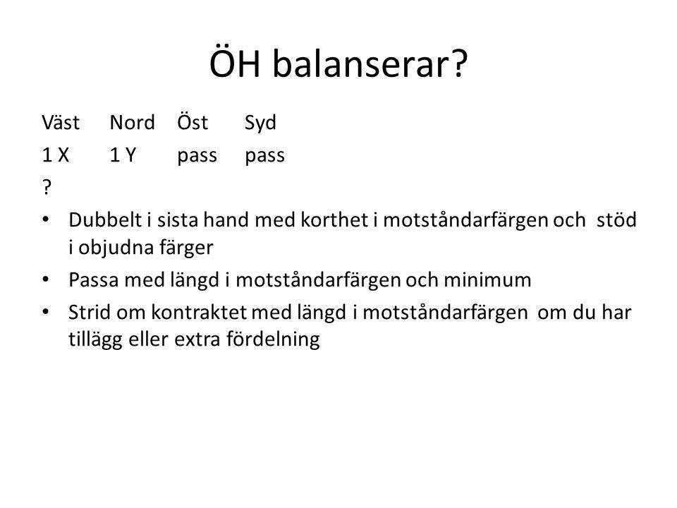 ÖH balanserar? VästNordÖstSyd 1 X 1 Y  passpass ? • Dubbelt i sista hand med korthet i motståndarfärgen och stöd i objudna färger • Passa med längd i