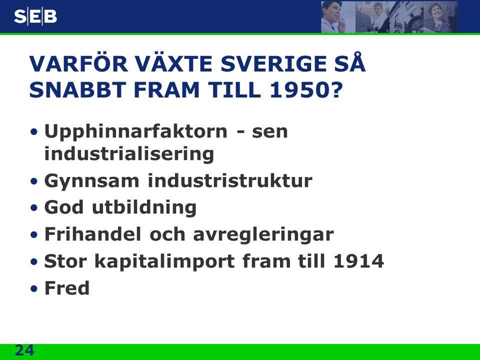 24 VARFÖR VÄXTE SVERIGE SÅ SNABBT FRAM TILL 1950? •Upphinnarfaktorn - sen industrialisering •Gynnsam industristruktur •God utbildning •Frihandel och a