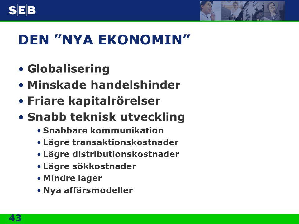 """43 DEN """"NYA EKONOMIN"""" •Globalisering •Minskade handelshinder •Friare kapitalrörelser •Snabb teknisk utveckling •Snabbare kommunikation •Lägre transakt"""