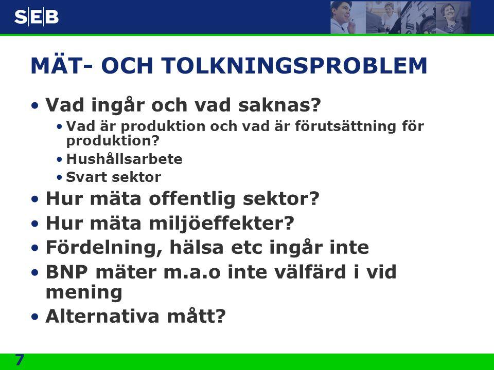 7 MÄT- OCH TOLKNINGSPROBLEM •Vad ingår och vad saknas? •Vad är produktion och vad är förutsättning för produktion? •Hushållsarbete •Svart sektor •Hur