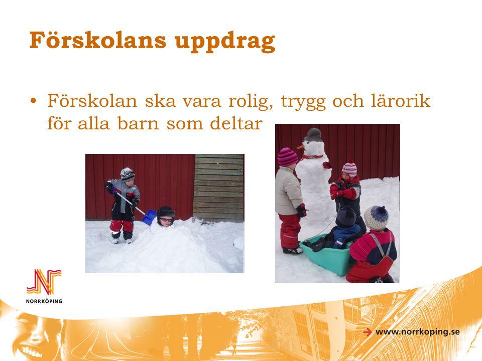 Förskolans uppdrag •Förskolan ska vara rolig, trygg och lärorik för alla barn som deltar