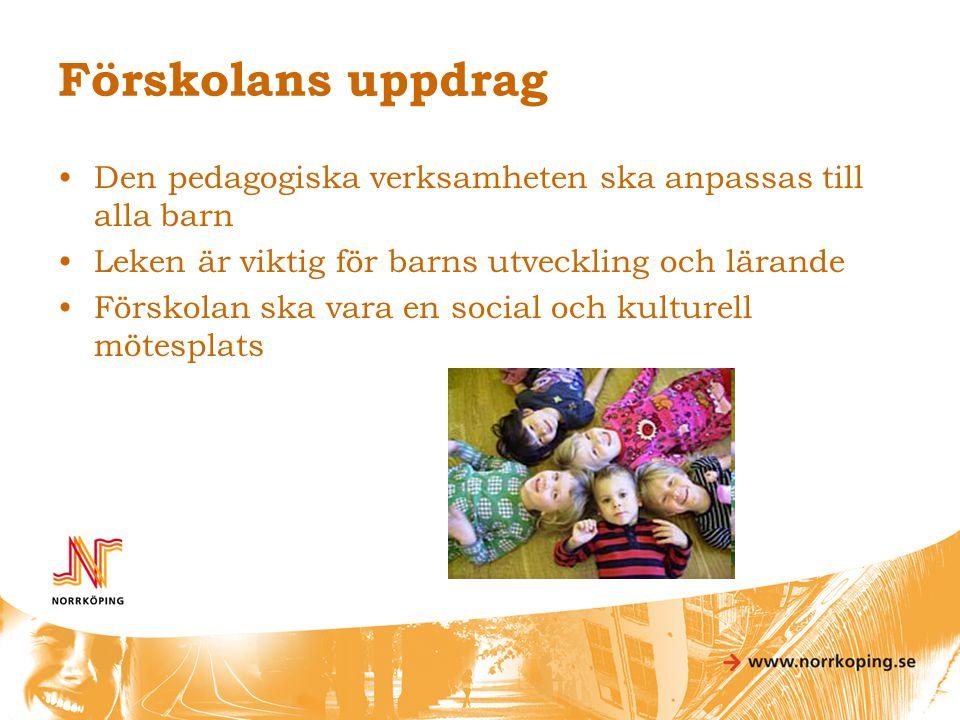Förskolans uppdrag •Den pedagogiska verksamheten ska anpassas till alla barn •Leken är viktig för barns utveckling och lärande •Förskolan ska vara en