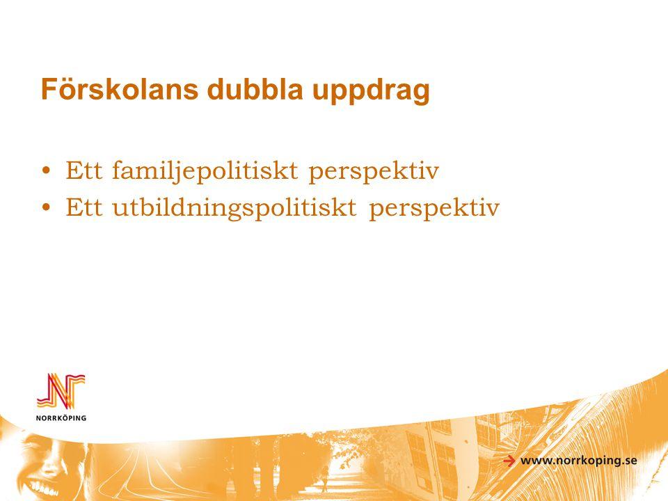 Förskolans dubbla uppdrag •Ett familjepolitiskt perspektiv •Ett utbildningspolitiskt perspektiv