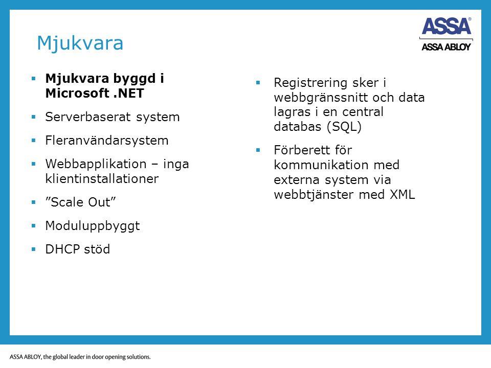 "Mjukvara  Mjukvara byggd i Microsoft.NET  Serverbaserat system  Fleranvändarsystem  Webbapplikation – inga klientinstallationer  ""Scale Out""  Mo"