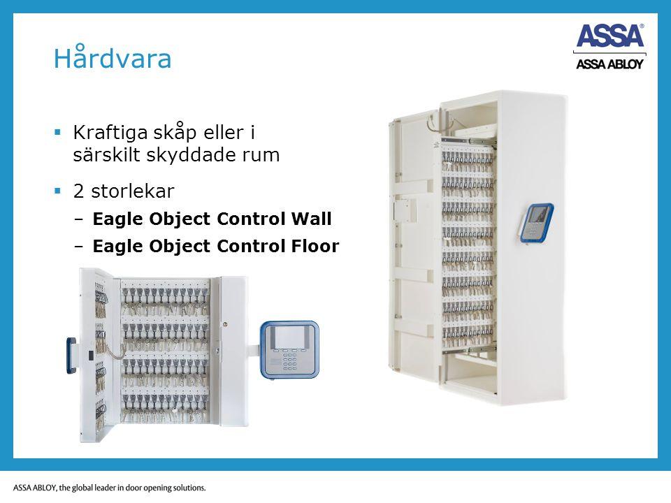 Hårdvara  Kraftiga skåp eller i särskilt skyddade rum  2 storlekar –Eagle Object Control Wall –Eagle Object Control Floor