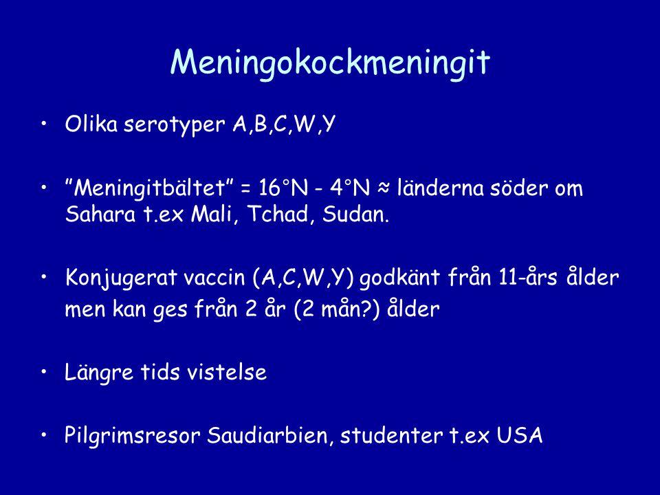 """Meningokockmeningit •Olika serotyper A,B,C,W,Y •""""Meningitbältet"""" = 16°N - 4°N ≈ länderna söder om Sahara t.ex Mali, Tchad, Sudan. •Konjugerat vaccin ("""