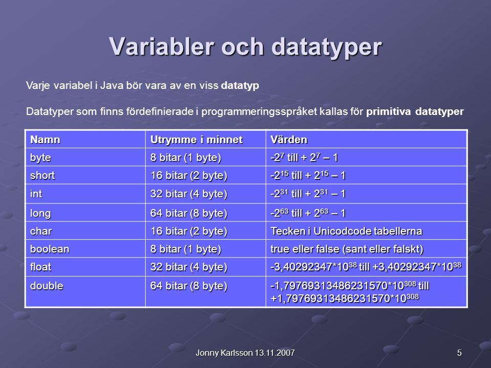 5Jonny Karlsson 13.11.2007 Variabler och datatyper Varje variabel i Java bör vara av en viss datatyp Datatyper som finns fördefinierade i programmerin