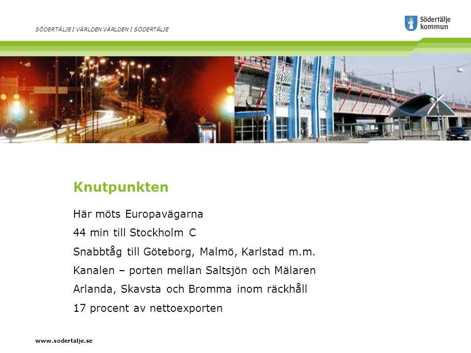 www.sodertalje.se SÖDERTÄLJE I VÄRLDEN VÄRLDEN I SÖDERTÄLJE Knutpunkten Här möts Europavägarna 44 min till Stockholm C Snabbtåg till Göteborg, Malmö, Karlstad m.m.