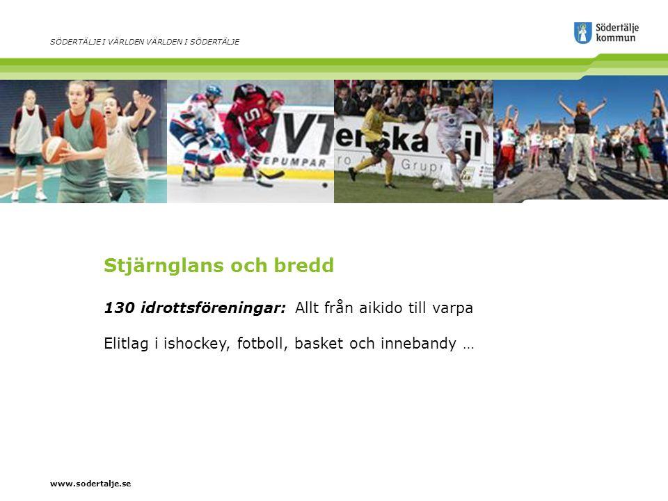 www.sodertalje.se SÖDERTÄLJE I VÄRLDEN VÄRLDEN I SÖDERTÄLJE Stjärnglans och bredd 130 idrottsföreningar: Allt från aikido till varpa Elitlag i ishockey, fotboll, basket och innebandy …
