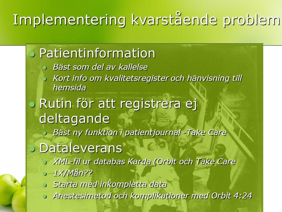  Patientinformation  Bäst som del av kallelse  Kort info om kvalitetsregister och hänvisning till hemsida  Rutin för att registrera ej deltagande  Bäst ny funktion i patientjournal -Take Care  Dataleverans  XML-fil ur databas Karda (Orbit och Take Care  1X/Mån?.