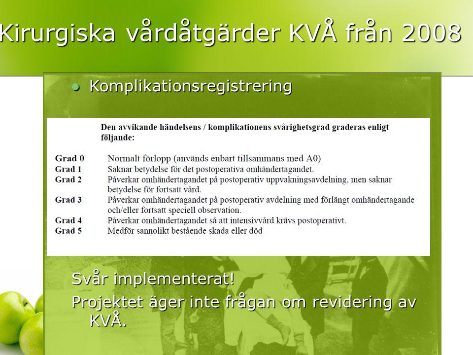  Komplikationsregistrering Svår implementerat! Projektet äger inte frågan om revidering av KVÅ. Kirurgiska vårdåtgärder KVÅ från 2008