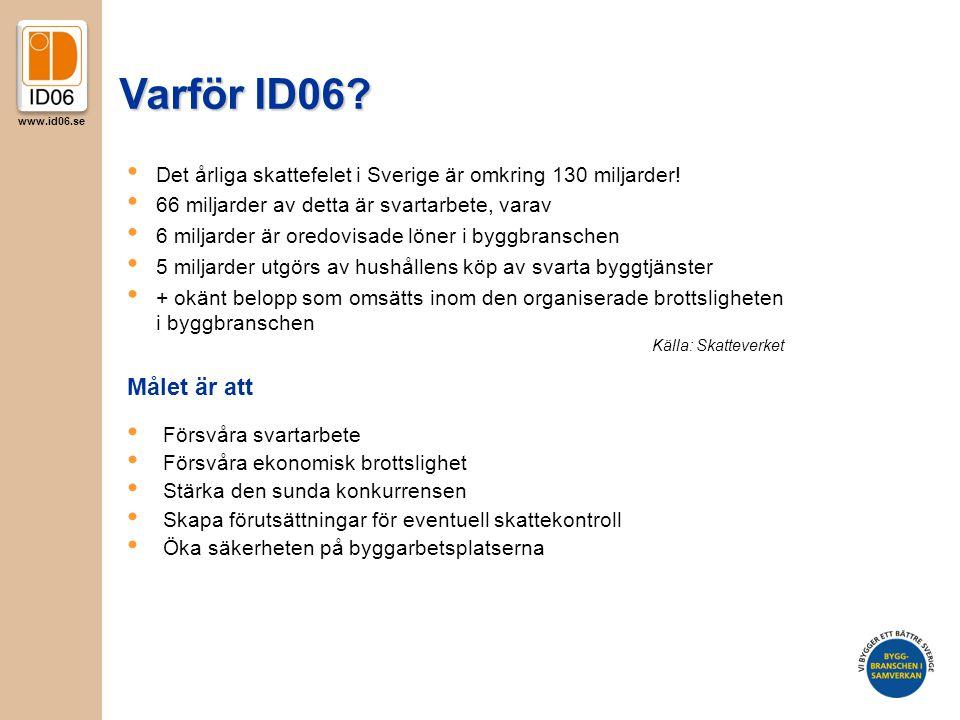 www.id06.se Varför ID06? Målet är att • Försvåra svartarbete • Försvåra ekonomisk brottslighet • Stärka den sunda konkurrensen • Skapa förutsättningar