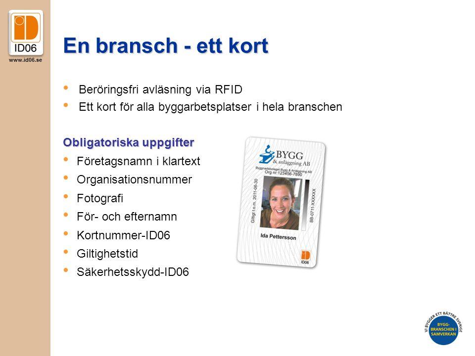 www.id06.se En bransch - ett kort Obligatoriska uppgifter • Företagsnamn i klartext • Organisationsnummer • Fotografi • För- och efternamn • Kortnummer-ID06 • Giltighetstid • Säkerhetsskydd-ID06 • Beröringsfri avläsning via RFID • Ett kort för alla byggarbetsplatser i hela branschen