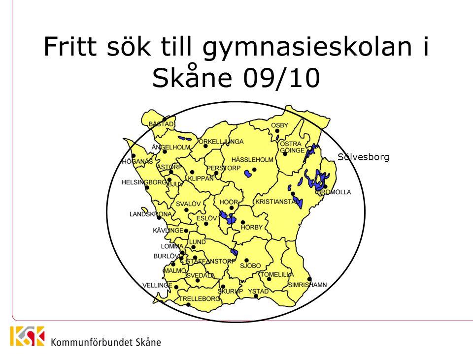 Fritt sök till gymnasieskolan i Skåne 09/10 Sölvesborg