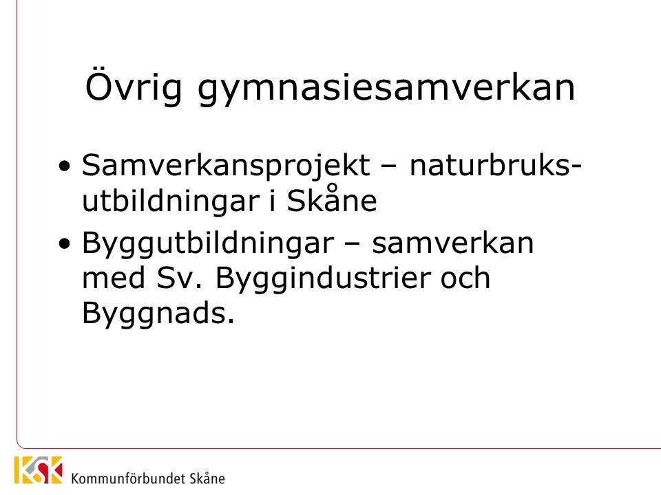 Övrig gymnasiesamverkan •Samverkansprojekt – naturbruks- utbildningar i Skåne •Byggutbildningar – samverkan med Sv. Byggindustrier och Byggnads.