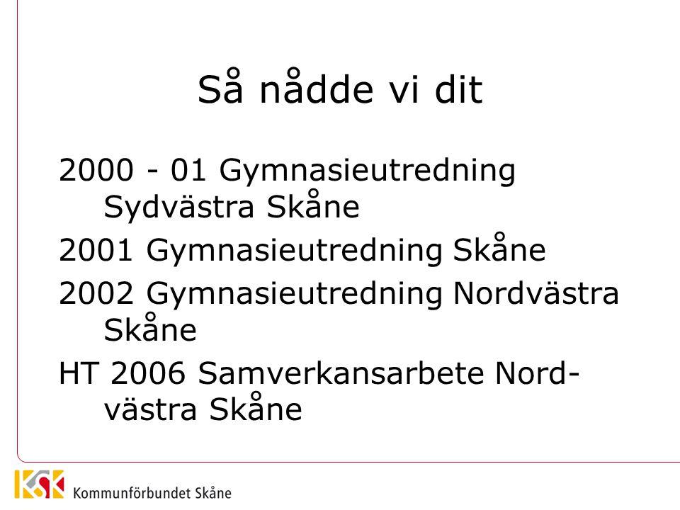 Så nådde vi dit 2000 - 01 Gymnasieutredning Sydvästra Skåne 2001 Gymnasieutredning Skåne 2002 Gymnasieutredning Nordvästra Skåne HT 2006 Samverkansarbete Nord- västra Skåne