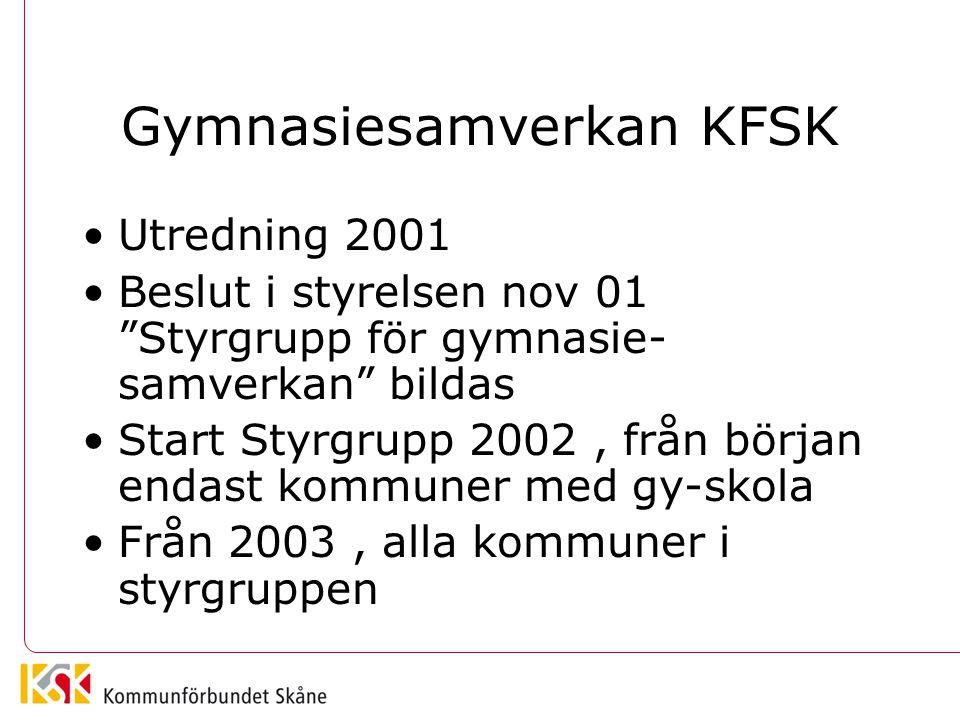 Gymnasiesamverkan KFSK •Utredning 2001 •Beslut i styrelsen nov 01 Styrgrupp för gymnasie- samverkan bildas •Start Styrgrupp 2002, från början endast kommuner med gy-skola •Från 2003, alla kommuner i styrgruppen