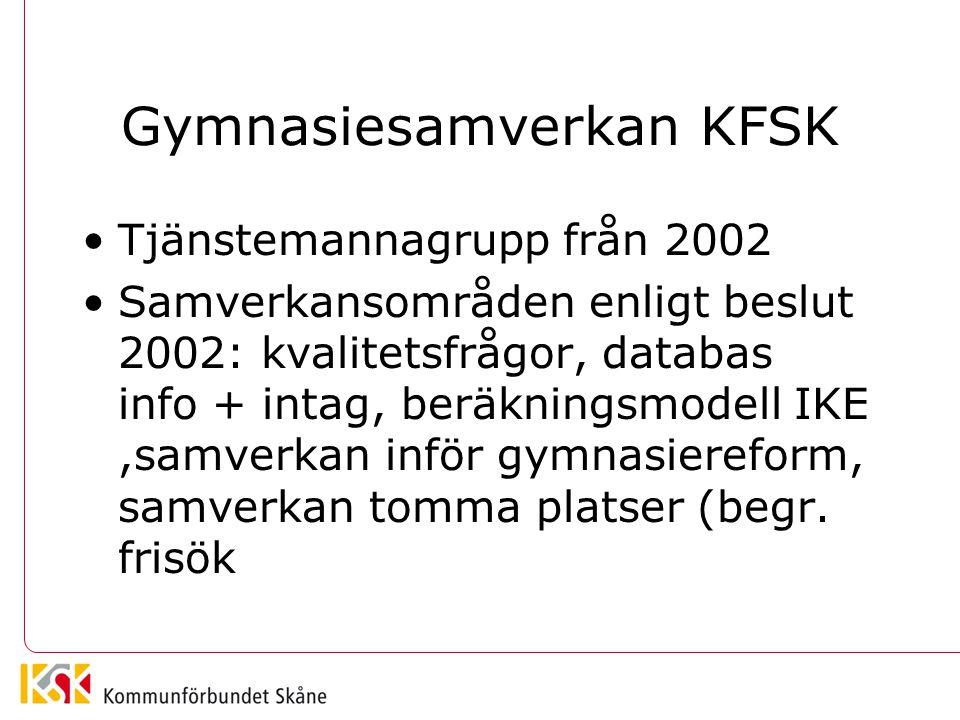 Gymnasiesamverkan KFSK •Tjänstemannagrupp från 2002 •Samverkansområden enligt beslut 2002: kvalitetsfrågor, databas info + intag, beräkningsmodell IKE,samverkan inför gymnasiereform, samverkan tomma platser (begr.