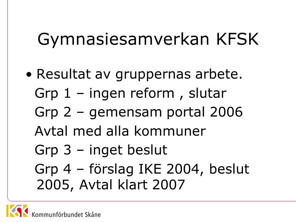 Gymnasiesamverkan KFSK •Resultat av gruppernas arbete. Grp 1 – ingen reform, slutar Grp 2 – gemensam portal 2006 Avtal med alla kommuner Grp 3 – inget