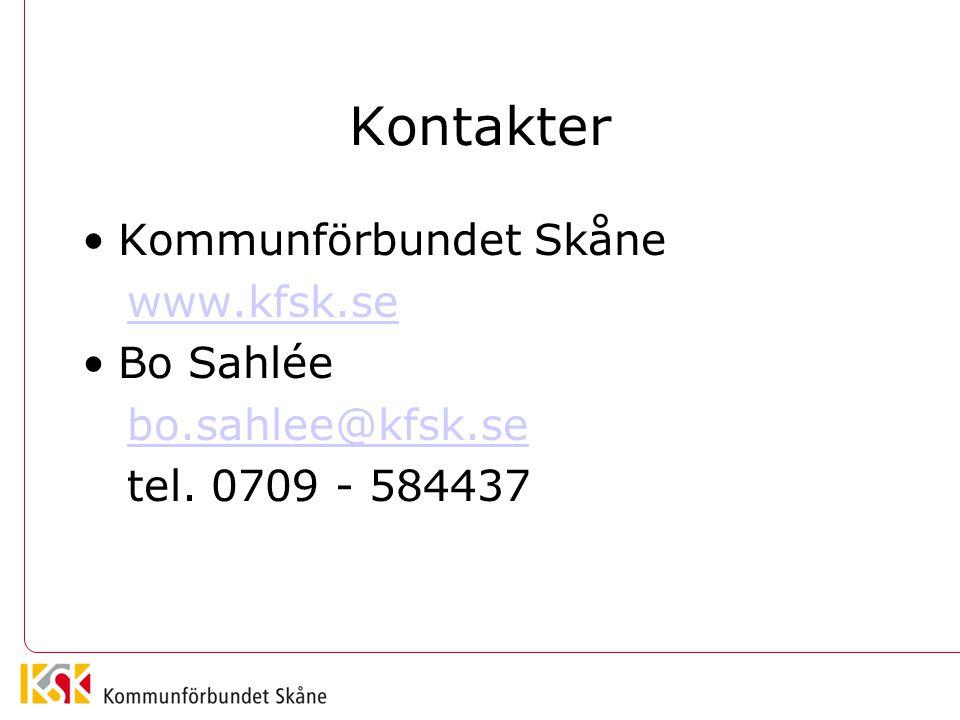 Kontakter •Kommunförbundet Skåne www.kfsk.se •Bo Sahlée bo.sahlee@kfsk.se tel. 0709 - 584437