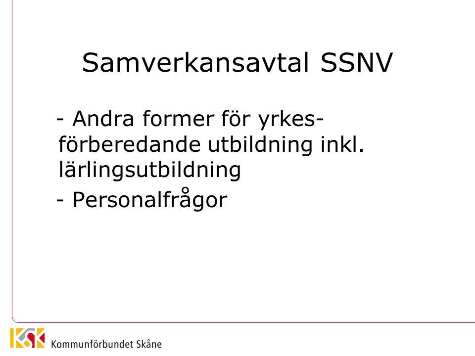 Samverkansavtal SSNV - Andra former för yrkes- förberedande utbildning inkl. lärlingsutbildning - Personalfrågor