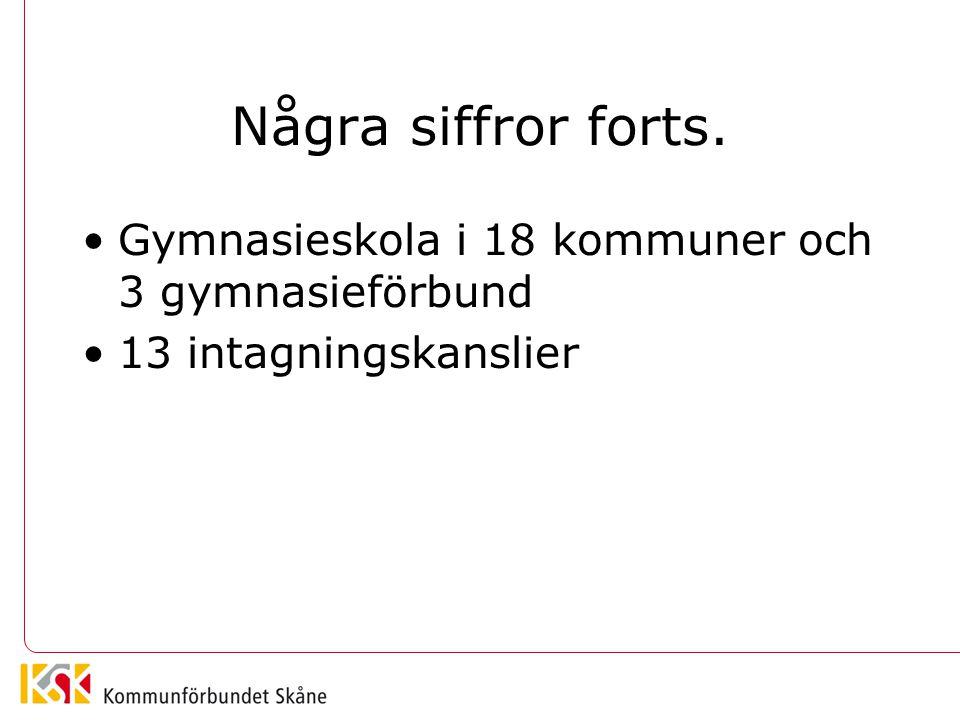 Några siffror forts. •Gymnasieskola i 18 kommuner och 3 gymnasieförbund •13 intagningskanslier