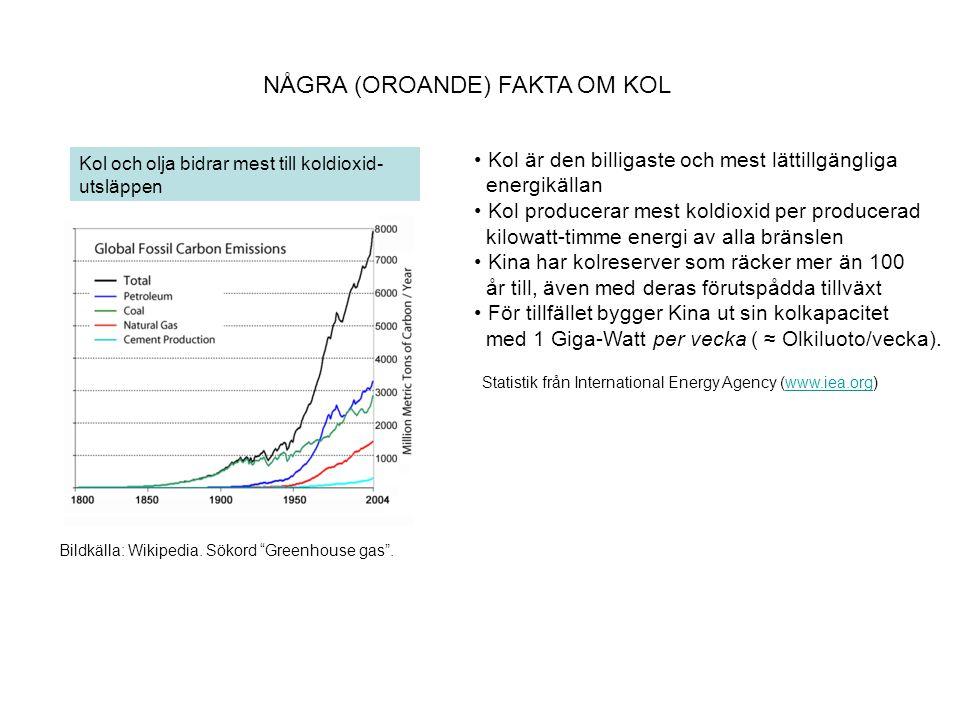 """NÅGRA (OROANDE) FAKTA OM KOL Bildkälla: Wikipedia. Sökord """"Greenhouse gas"""". Kol och olja bidrar mest till koldioxid- utsläppen • Kol är den billigaste"""