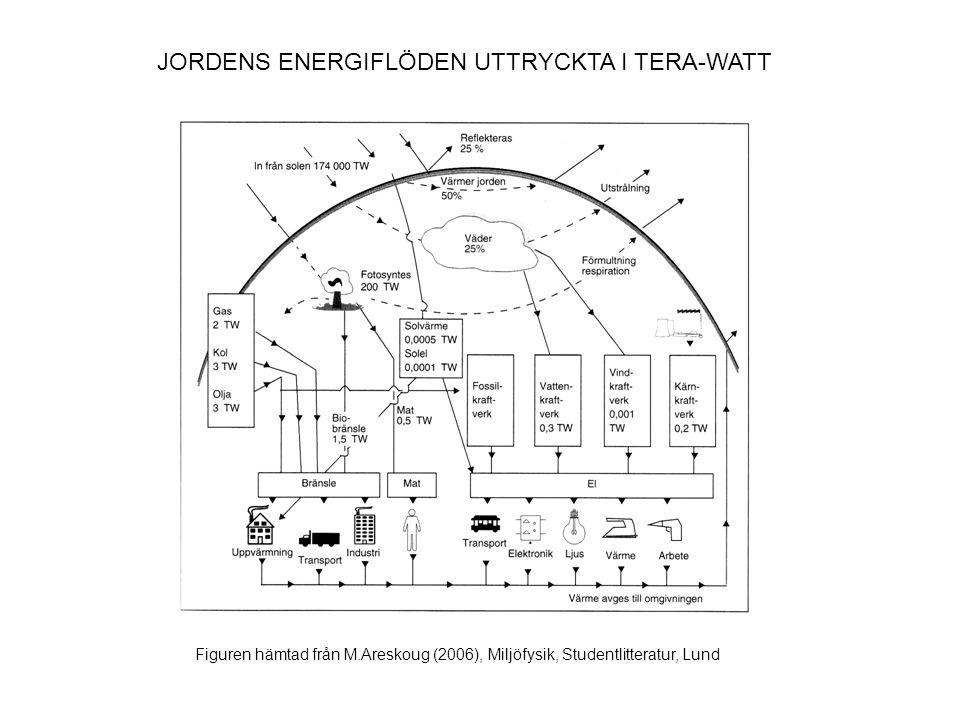 STORLEKSORDNINGEN PÅ OLIKA ENERGIKÄLLOR KällorEnergi (Joule) Uppskattade globala kolreserven (2005) 2,1x10 22 Uppskattade naturgas- reserven (2006) 6,5x10 21 Uppskattade råoljereserven (2003) 7,4x10 21 Världens årliga energiförbrukning (2005) 5x10 20 Finlands årliga energiförbrukning (2005) 1,4x10 18 Ett fat råolja (ca.159 l)6x10 9 Dagligt födointag (vuxen) 1x10 6 Tabellen är sammanställd från Wikipedia.