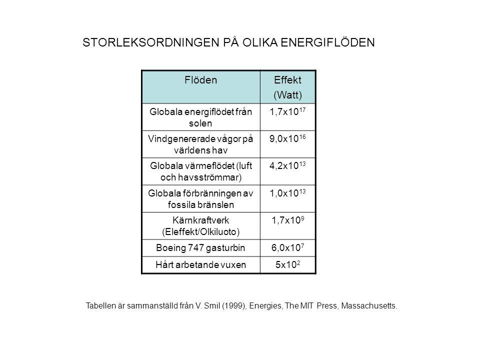 GLOBALA ENERGIFÖRSÖRJNINGEN FÖRDELAT ENLIGT KÄLLOR (2002) Grafen hämtade från G.