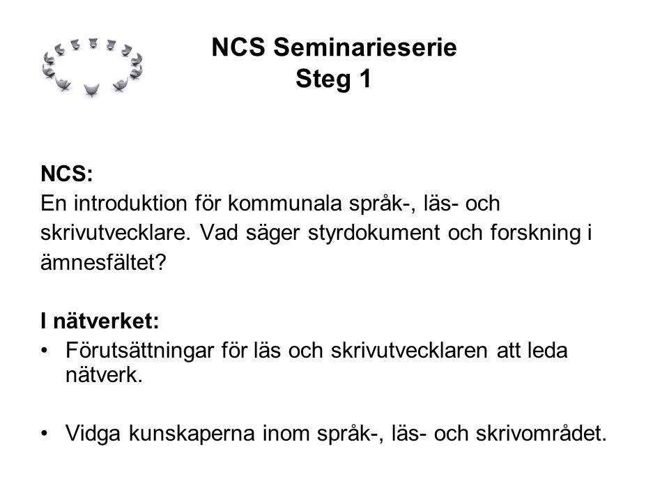 NCS Seminarieserie Steg 1 NCS: En introduktion för kommunala språk-, läs- och skrivutvecklare.