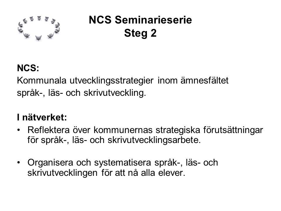 NCS Seminarieserie Steg 2 NCS: Kommunala utvecklingsstrategier inom ämnesfältet språk-, läs- och skrivutveckling.