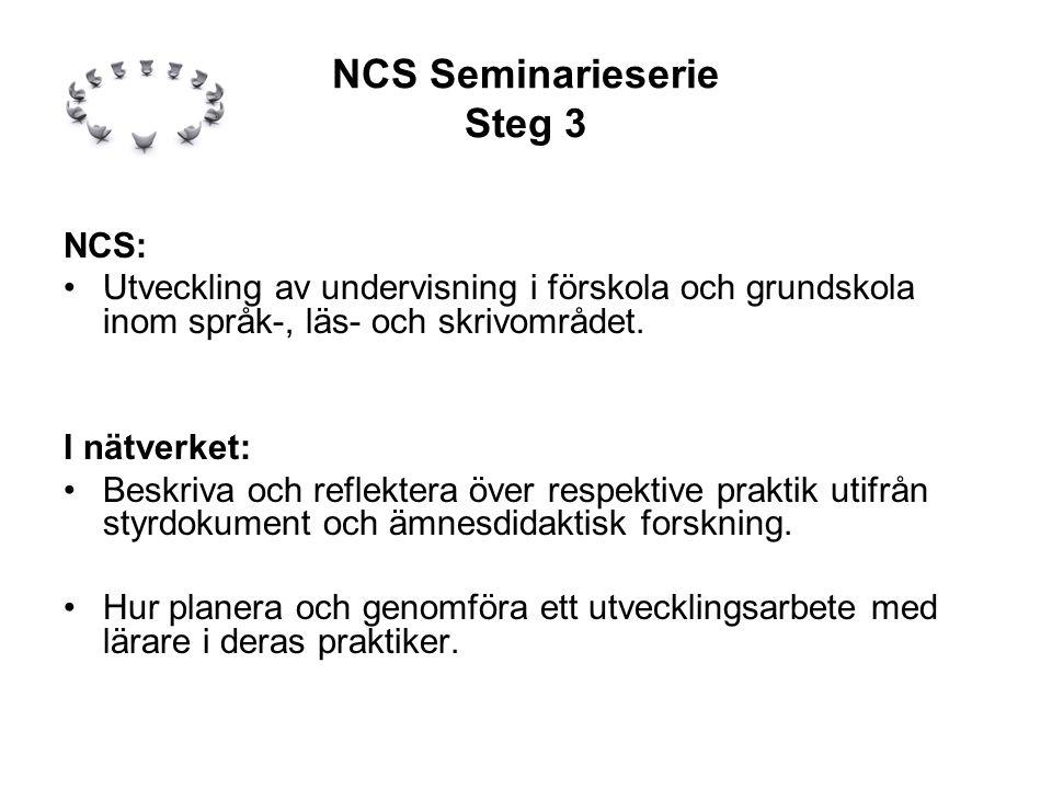 NCS Seminarieserie Steg 3 NCS: •Utveckling av undervisning i förskola och grundskola inom språk-, läs- och skrivområdet.