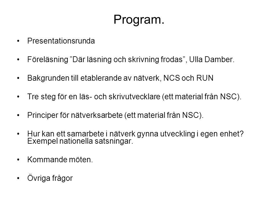 Program. •Presentationsrunda •Föreläsning Där läsning och skrivning frodas , Ulla Damber.