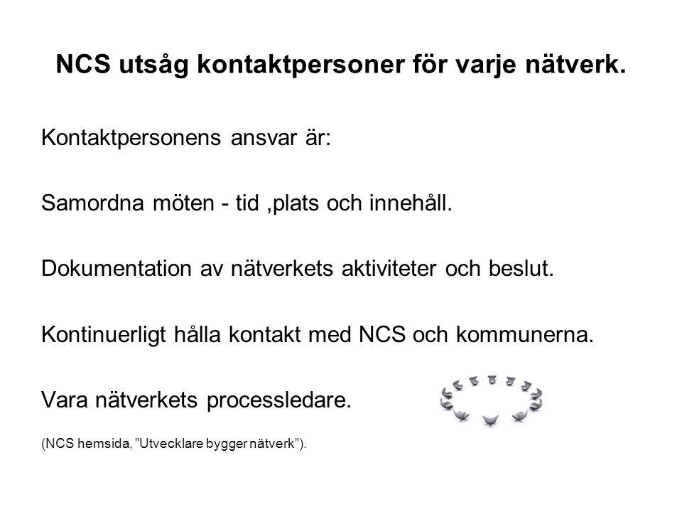 NCS utsåg kontaktpersoner för varje nätverk.