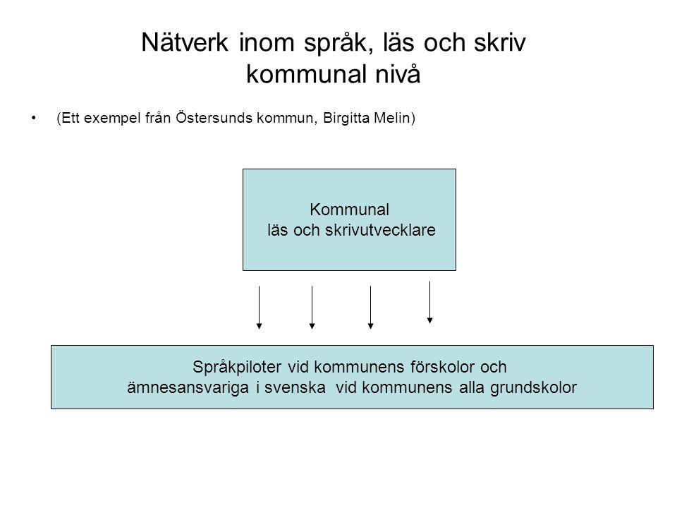 Nätverkens funktion och innehåll •Bidra till uppbyggnad och utveckling av nätverk inom språk, läs och skriv på lokal, regional och nationell nivå.