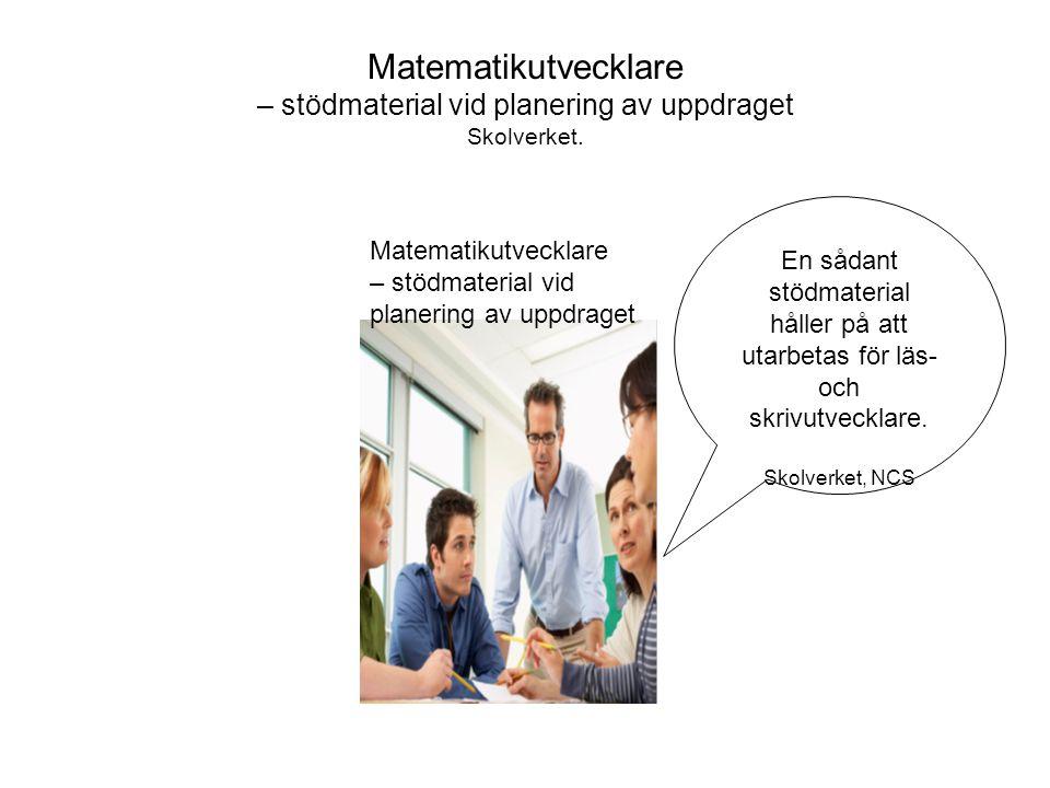 Matematikutvecklare – stödmaterial vid planering av uppdraget Skolverket.