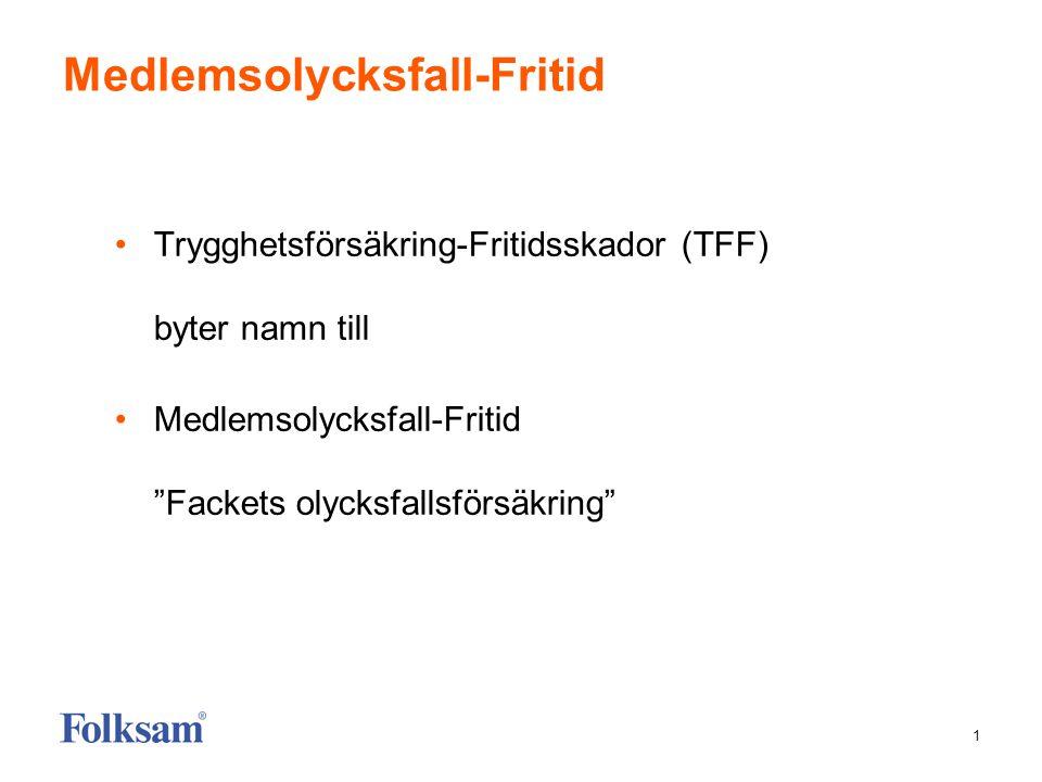 """1 Medlemsolycksfall-Fritid •Trygghetsförsäkring-Fritidsskador (TFF) byter namn till •Medlemsolycksfall-Fritid """"Fackets olycksfallsförsäkring"""""""