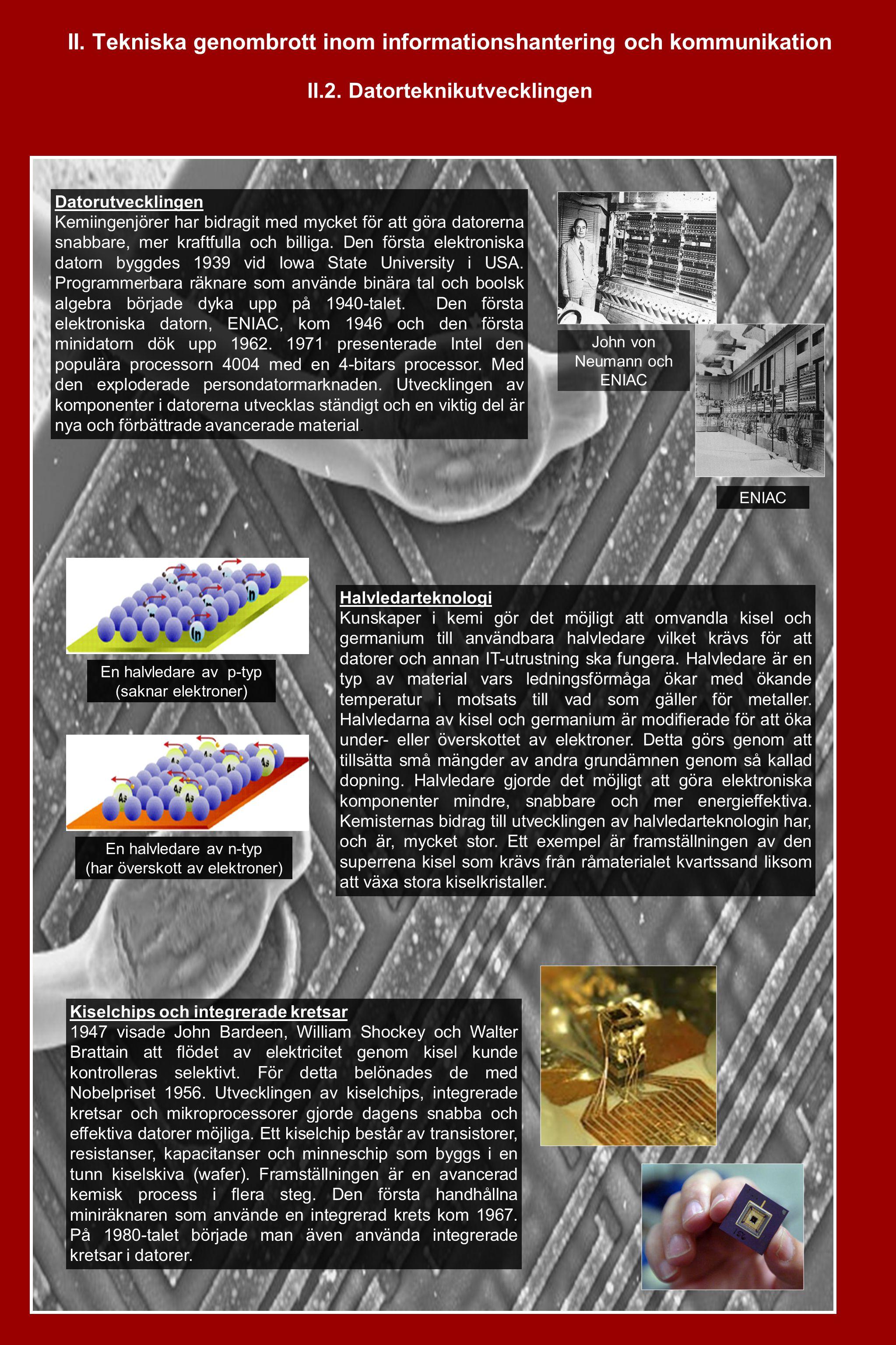 II.Tekniska genombrott inom informationshantering och kommunikation II.3.