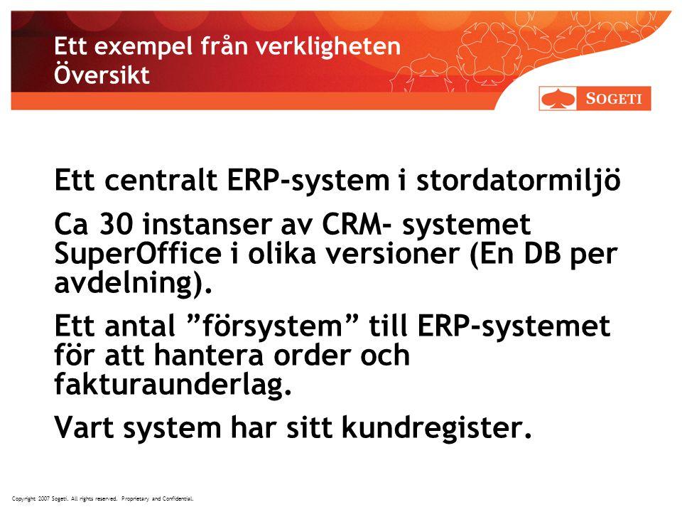 Copyright 2007 Sogeti. All rights reserved. Proprietary and Confidential. Ett exempel från verkligheten Översikt Ett centralt ERP-system i stordatormi