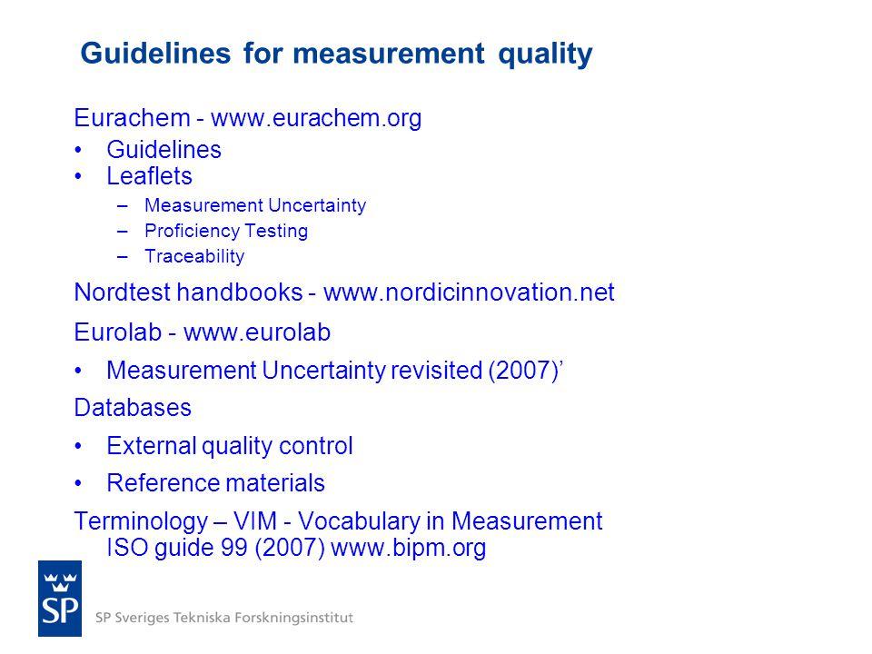 Eurachem - www.eurachem.org •Guidelines •Leaflets –Measurement Uncertainty –Proficiency Testing –Traceability Nordtest handbooks - www.nordicinnovatio