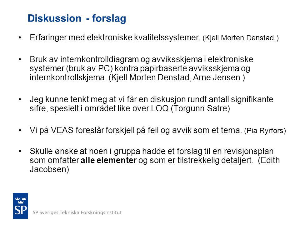 Diskussion - forslag •Erfaringer med elektroniske kvalitetssystemer. (Kjell Morten Denstad ) •Bruk av internkontrolldiagram og avviksskjema i elektron