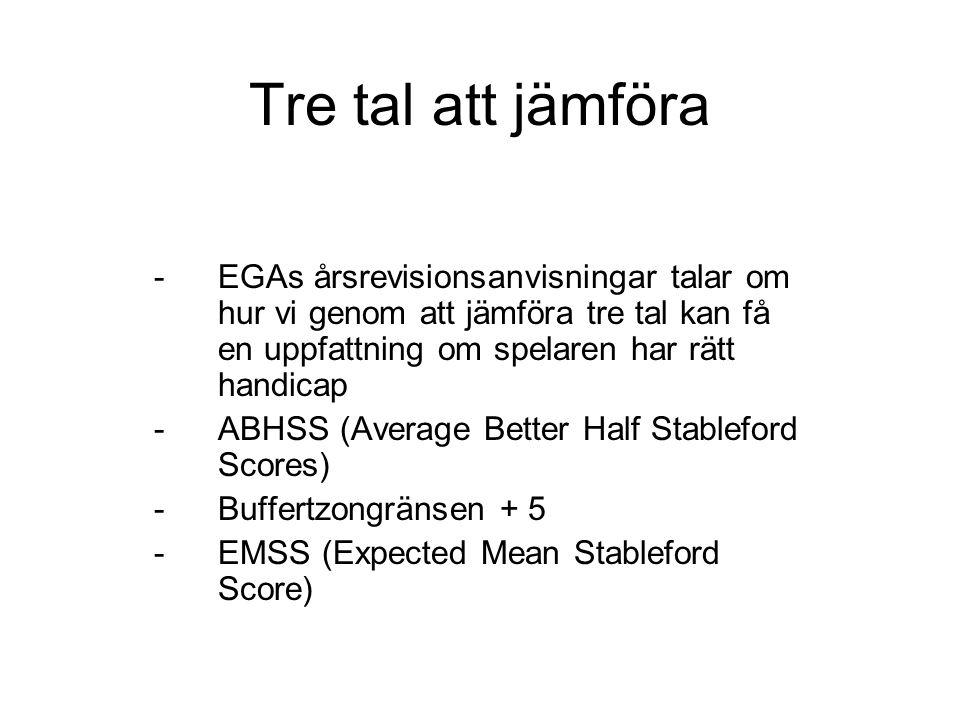 Tre tal att jämföra -EGAs årsrevisionsanvisningar talar om hur vi genom att jämföra tre tal kan få en uppfattning om spelaren har rätt handicap -ABHSS