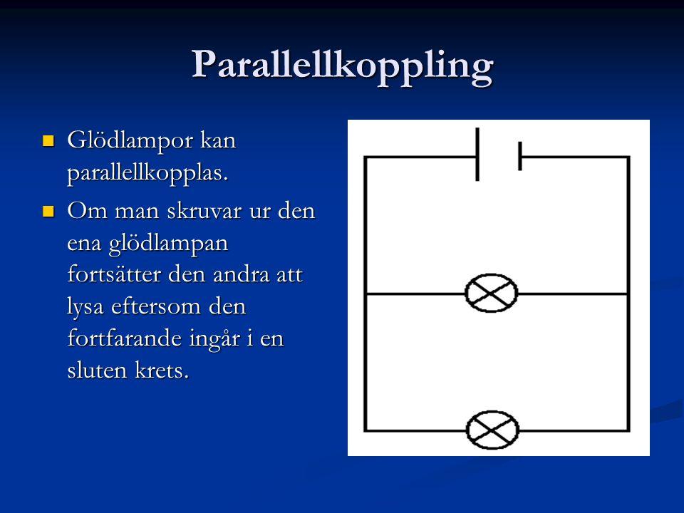 Parallellkoppling  Glödlampor kan parallellkopplas.  Om man skruvar ur den ena glödlampan fortsätter den andra att lysa eftersom den fortfarande ing