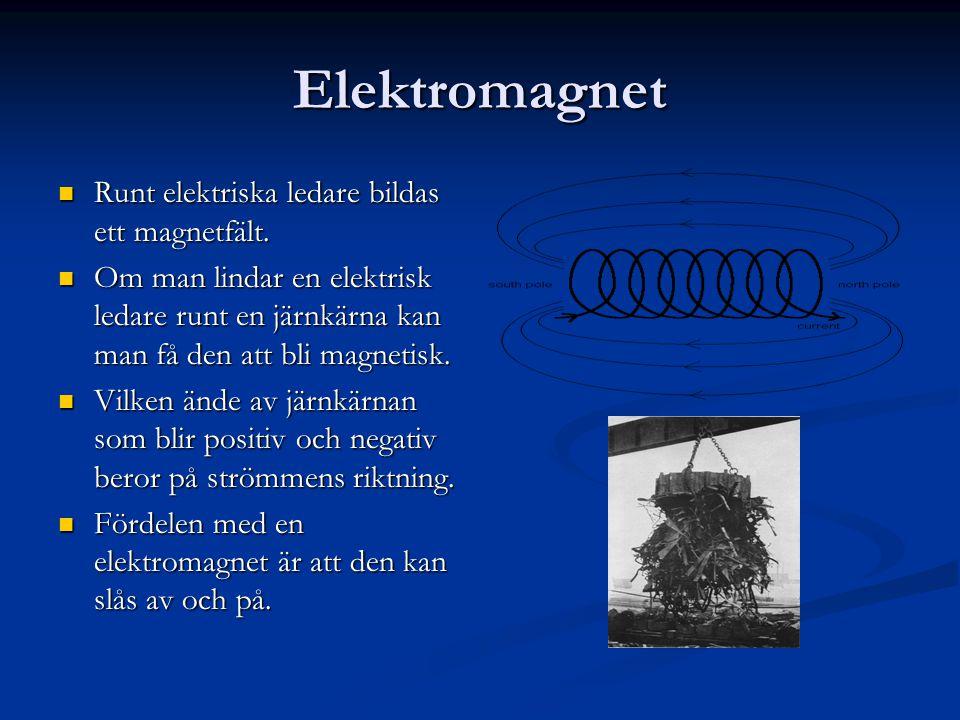 Elektromagnet  Runt elektriska ledare bildas ett magnetfält.  Om man lindar en elektrisk ledare runt en järnkärna kan man få den att bli magnetisk.